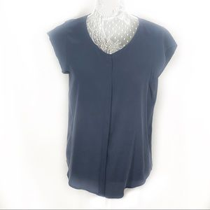 Navy Blue silk Joie button front shirt Small EUC